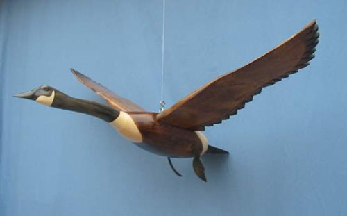 Wood Carving - Canada Goose In Flight Wings Up Decoy
