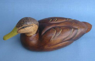 Wood Carving - Handcarved Classic Black Duck Hen Decoy