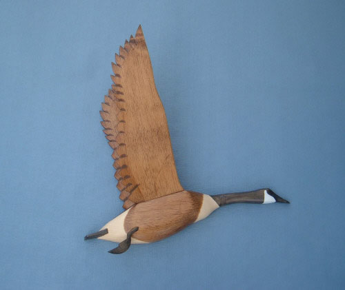 Wall Mount Canada Goose Wings Up Head Down Decoy