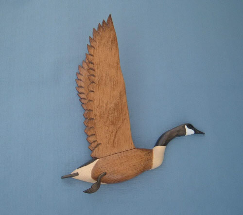 Wall Mount Canada Goose Wings Up Head Up Decoy