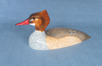 Wood Carving - Classic Handcarved Common Merganser Hen Decoy