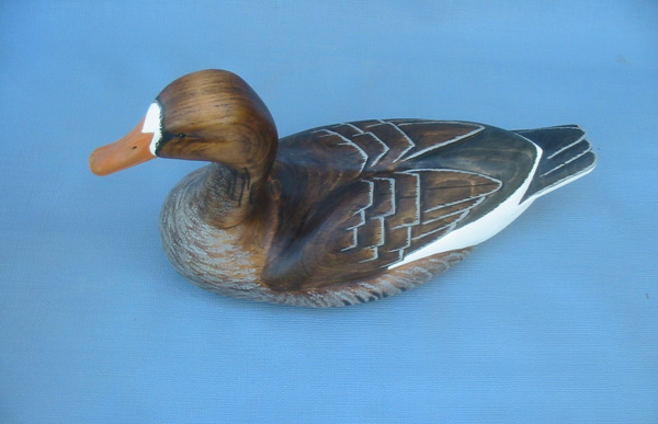 Wood Carving - Classic Handcarved White Fronted Speckle Belly Goose Decoy